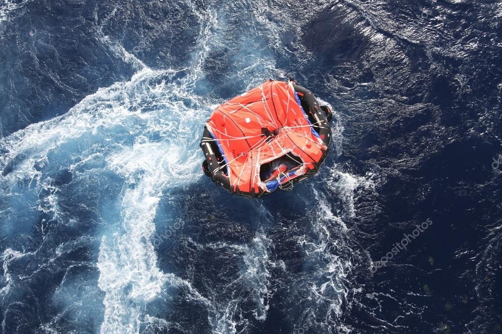 Life raft in rough seas