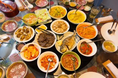An Asian feast of food