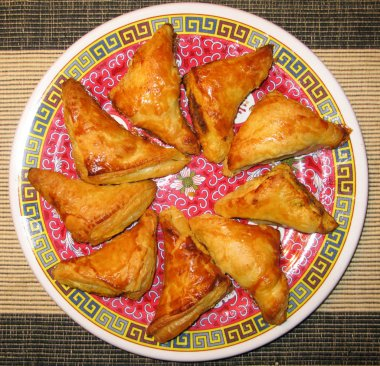 Plate of spicy Curry Puffs