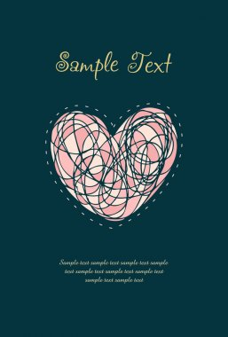 Design template with heart and sample text