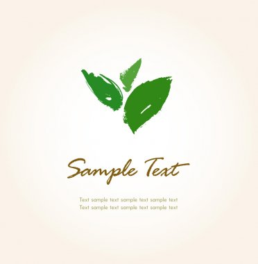 Template for design with hand drawn sketched leaves and sample text stock vector
