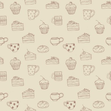 Pattern with sweets and  tea cups