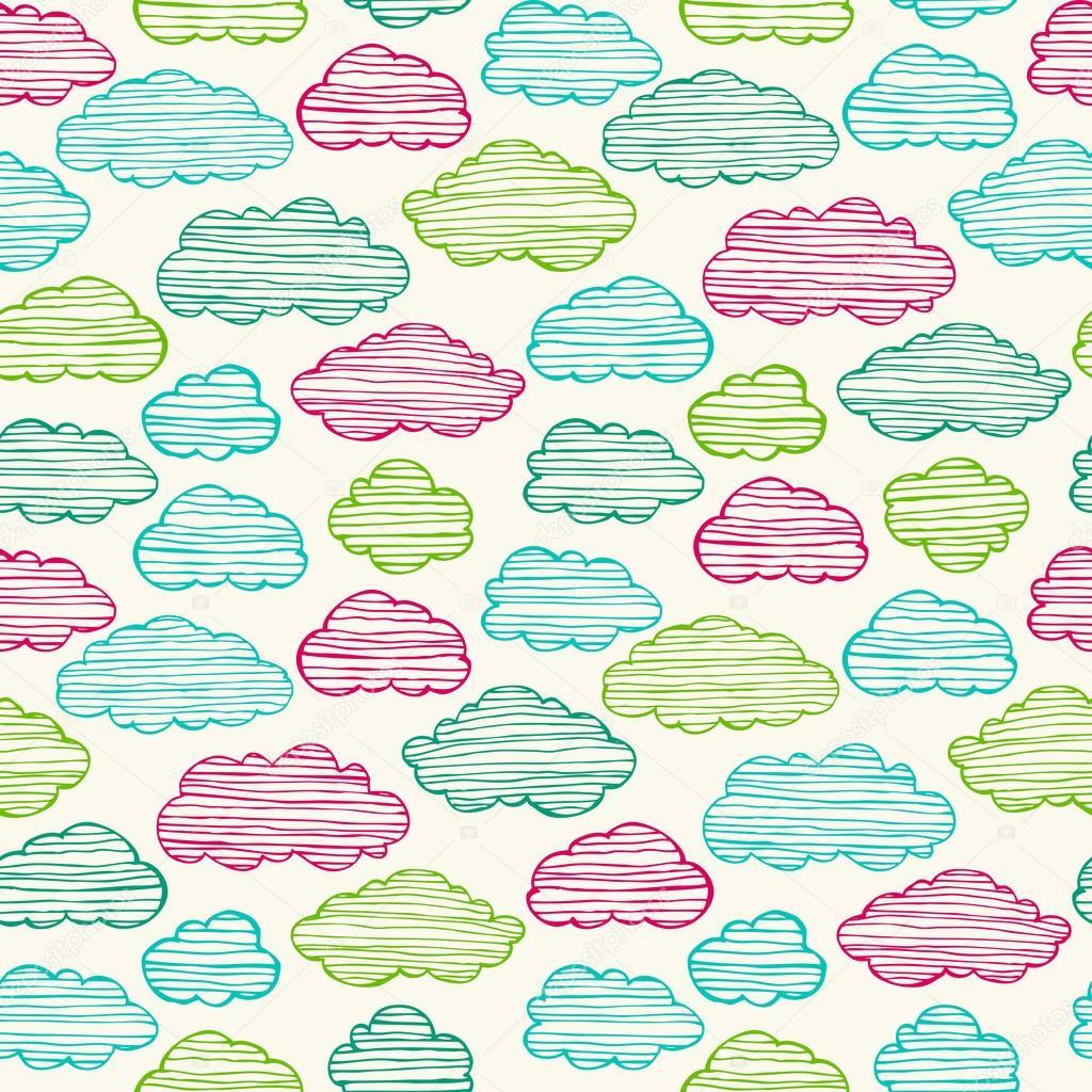 Textura infantil sem costura com nuvens vetores de stock - Papel decoupage infantil ...