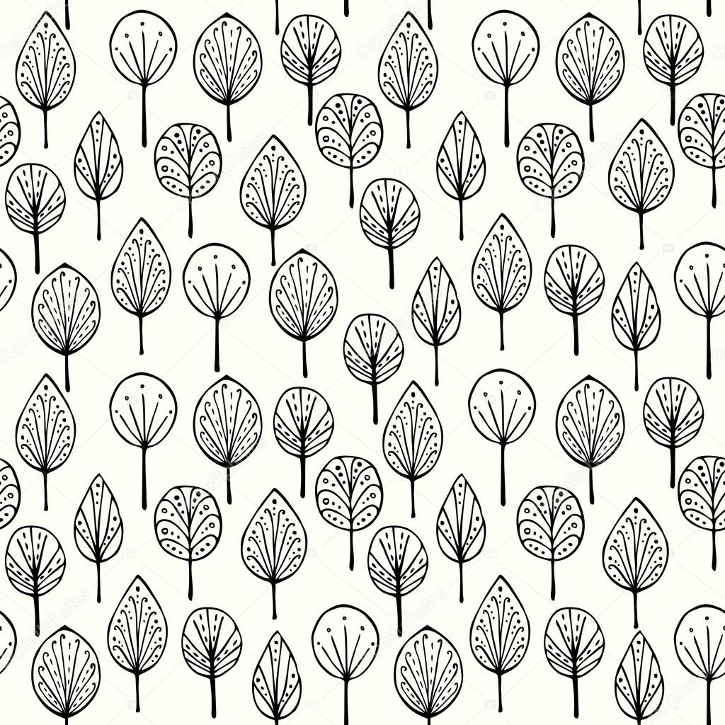 Textura lineal sin fisuras con hojas ornamentales vector for Hojas ornamentales