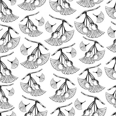 Seamless pattern with branches of ginkgo biloba. Illustration for packaging, paper, wallpaper, fabrics, textiles. Ginkgo biloba leaves set. Botanical illustrations. icon