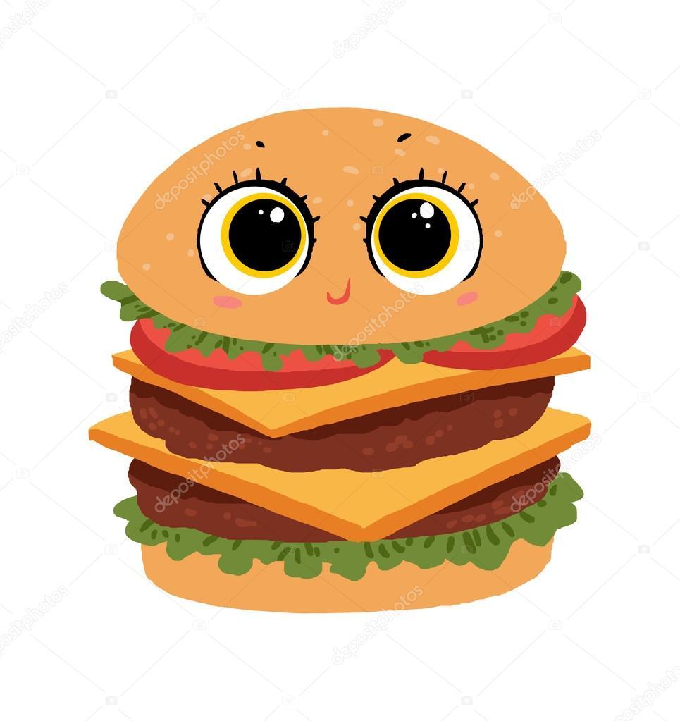 かわいいバーガー漫画イラスト ストック写真 Aditgalih 95084996