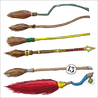 set of witch brooms for halloween. color vector illustration