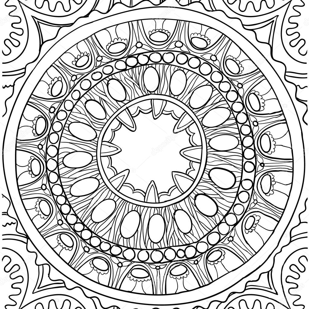 Black and white ornament. Floral mandala. Hand drawn pattern