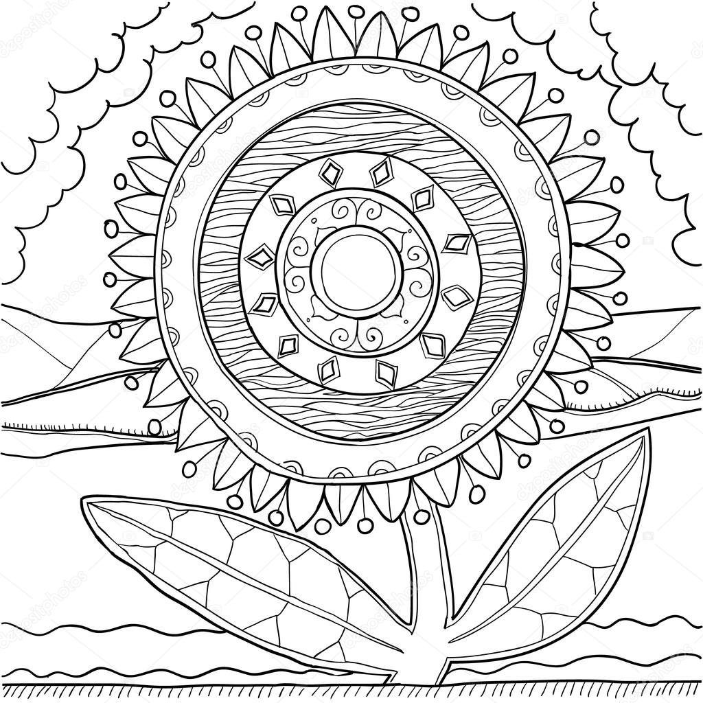 Black and white mandala ornament. Hand drawn pattern