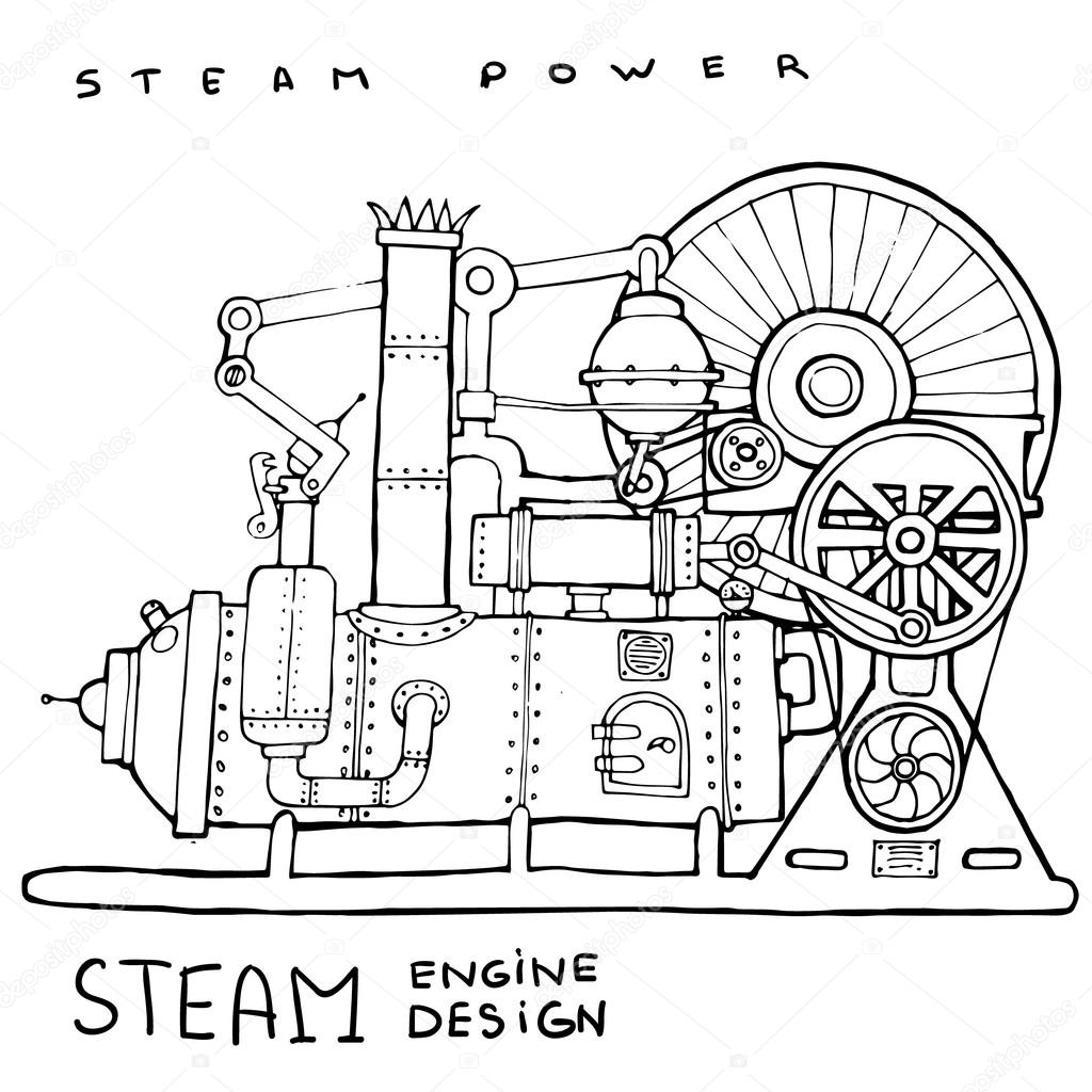 Old Steam Engine Vintage Illustration Stock Vector Volodmar Piston Diagram