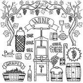 Fotografia Infografica vettoriale vino con illustrazioni vinificazione design