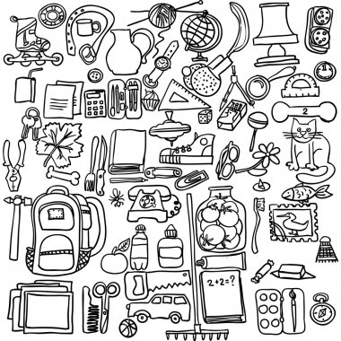 Freehand drawing school items on a white background.  Vector Set