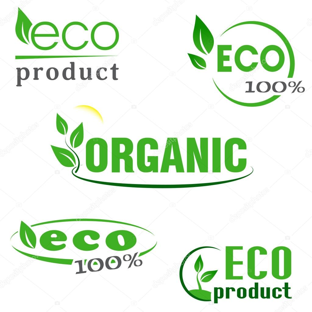 Organic, eco, natural products green icons set