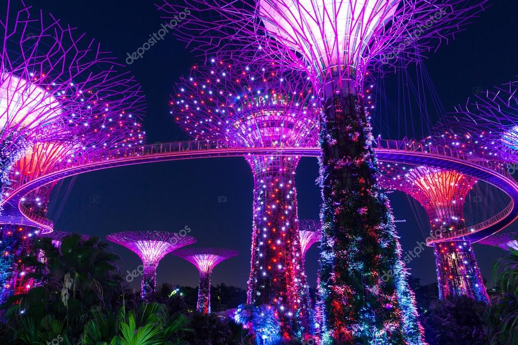 Garden By The Bay Night super tree grove at night, gardensthe bay, singapore – stock