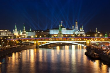Victory Day celebrations in Moscow with light show over Kremlin, Russia