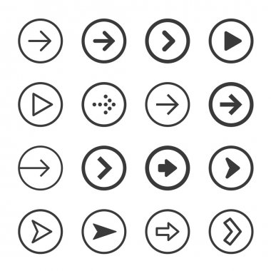 Clean and modern arrows sign icon set