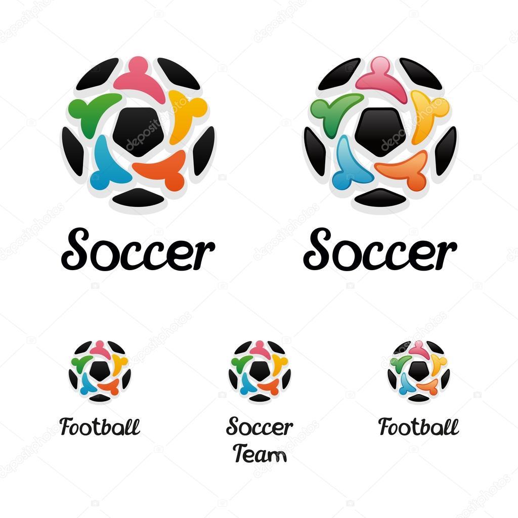 Logo con un pallone da calcio e icone di popolo unito come - Pagina da colorare di un pallone da calcio ...
