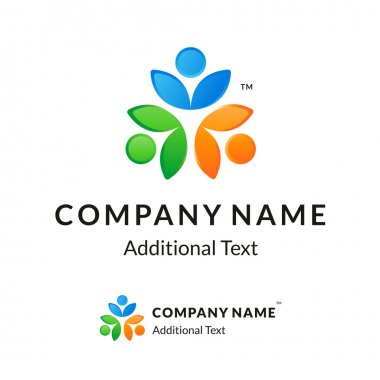 Bright Colorful Twisted Logo with United People Working Together like a Flower
