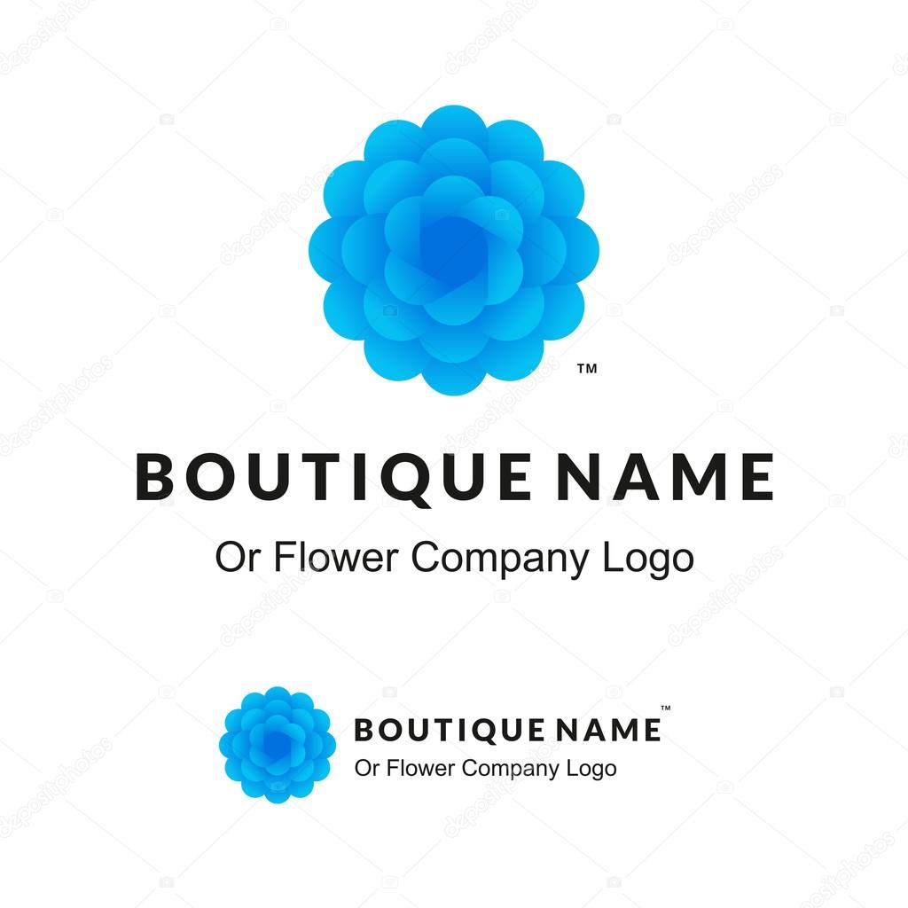 Beautiful Logo with Blue Flower for Boutique or Beauty Salon or Flowers Company