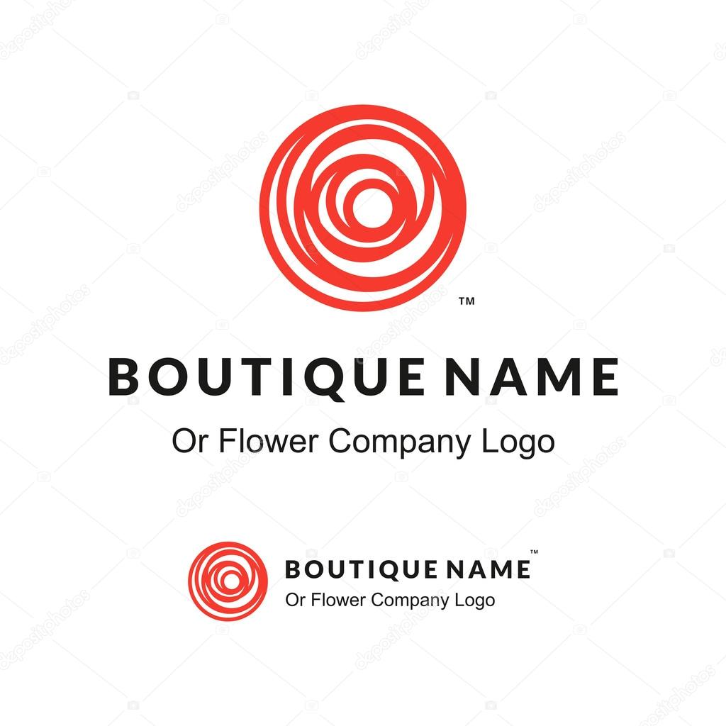 Beautiful Contour Red Logo with Rose Flower for Boutique or Beauty Salon or Flowers Company