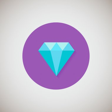 Diamond flat icon. Flat design style modern vector illustration. Isolated on stylish color background. Flat long shadow icon. Elements in flat design. EPS 10.