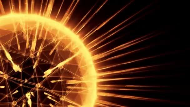 Abstraktní animace rotujícího světa s globální sítí. Bezešvá smyčka. Globální obchodní koncept. Oranžové verze. Další barevné možnosti dostupné v mém portfoliu