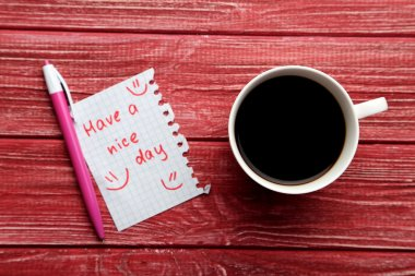 Have a nice day note and cup of coffee