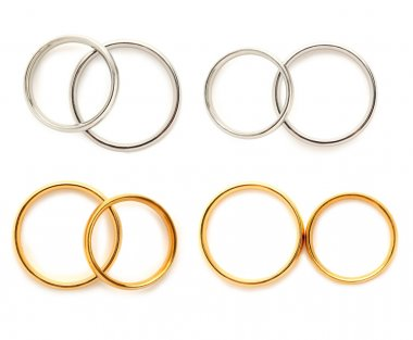 Golden and silver wedding rings