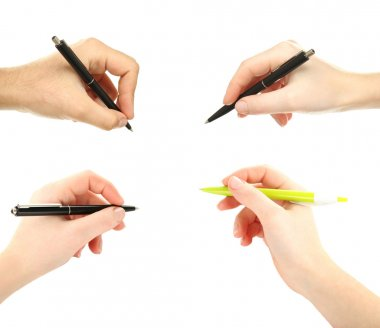 Female hands with pen on white background, collage stock vector