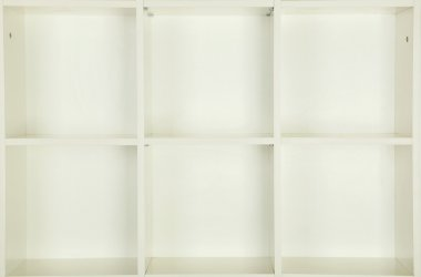 Empty shelves in white wooden rack