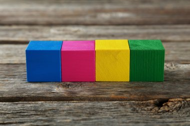 Colorful wooden toy cubes