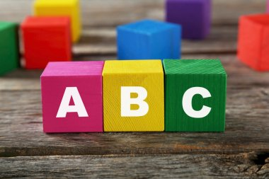cubes with letters ABC