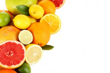 Citrus fruits on a white