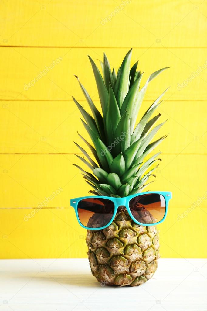 Ripe Pineapple With Sunglasses Stock Photo 169 5seconds