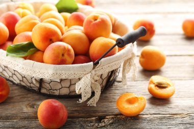 Ripe apricots fruit on table