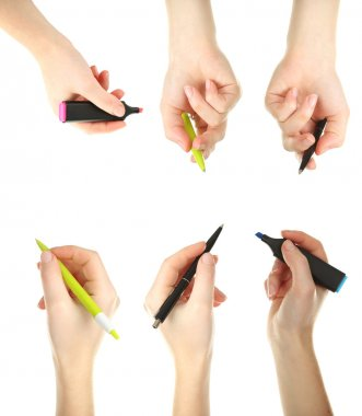 Female hands with pens and markers on white background, collage stock vector
