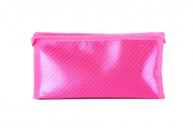 Pink make-up bag isolated