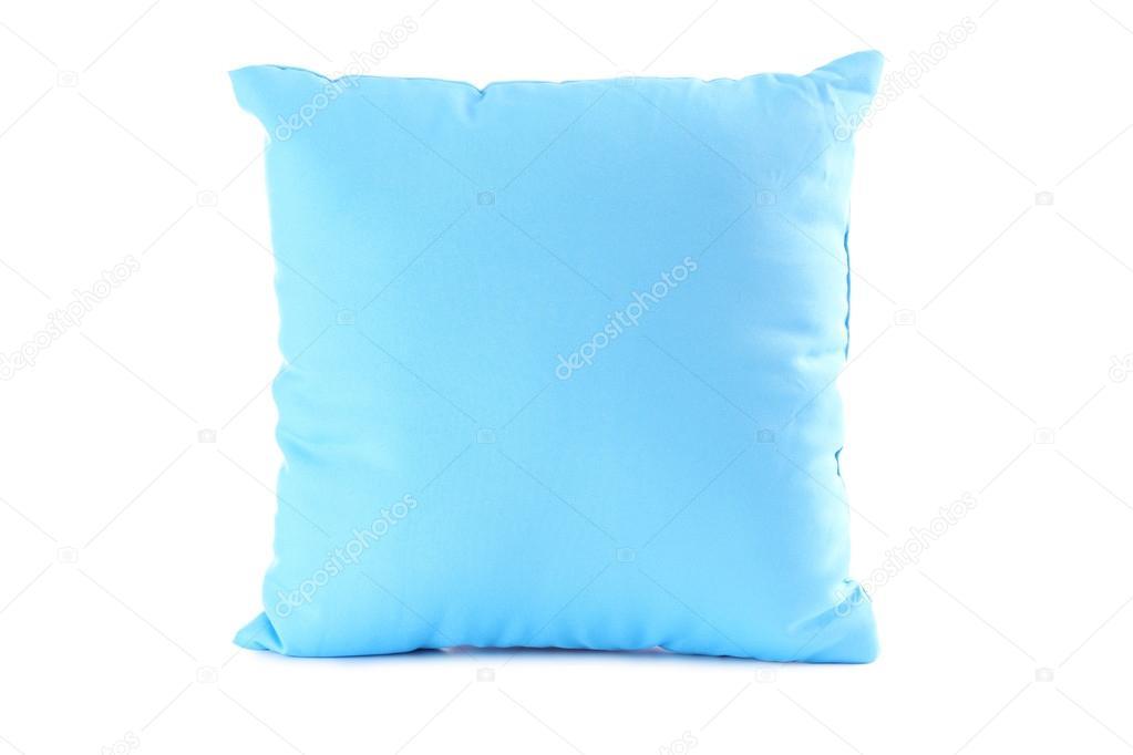 Blauw kussen op een wit u stockfoto seconds