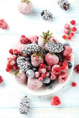 Frozen berries on plate
