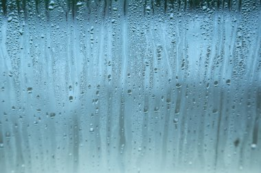 Fogged up glass with drops