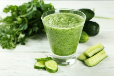Glass of cucumber juice