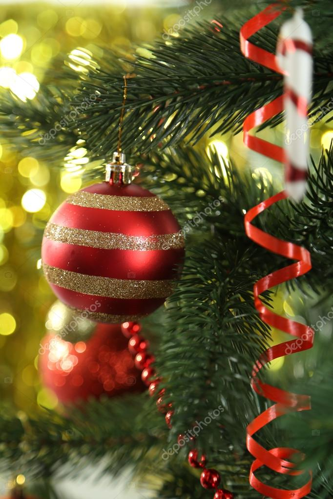 Amazing Christmas Baubles On Christmas Tree On Lights Background U2014 Photo By 5seconds
