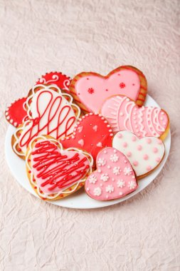 Heart cookies on white plate