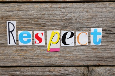 Word Respect in cut out letters