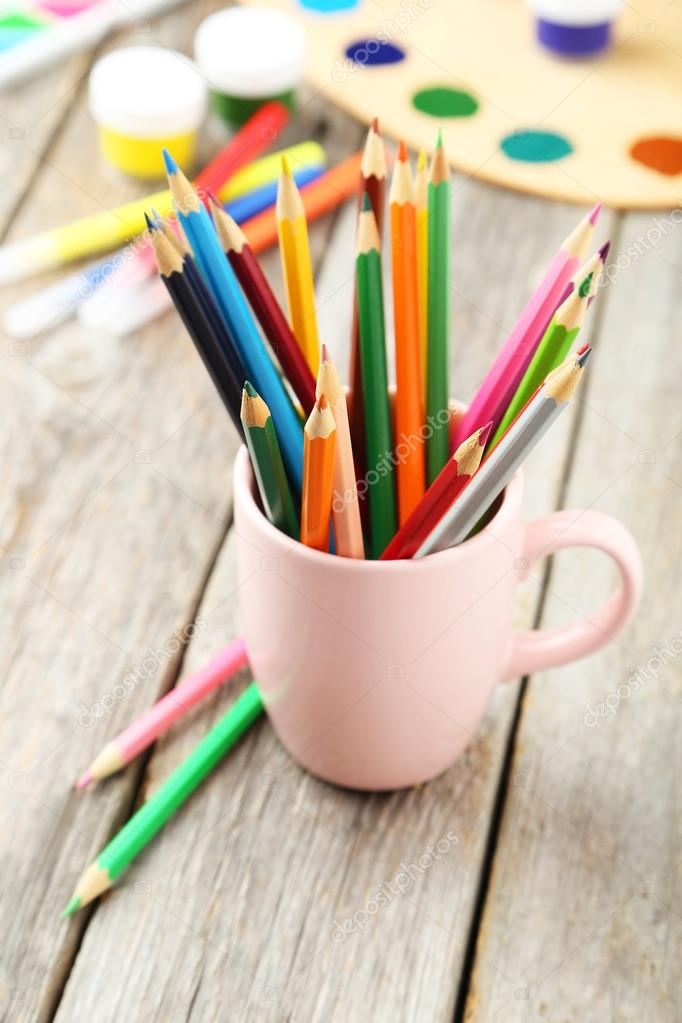 Colorful pencils in cup
