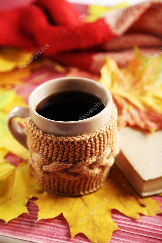 Las hojas de oto o con taza de caf fotos de stock - Descargar autumn leaves ...