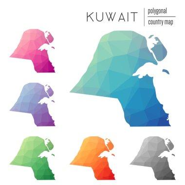 Set of vector polygonal Kuwait maps.