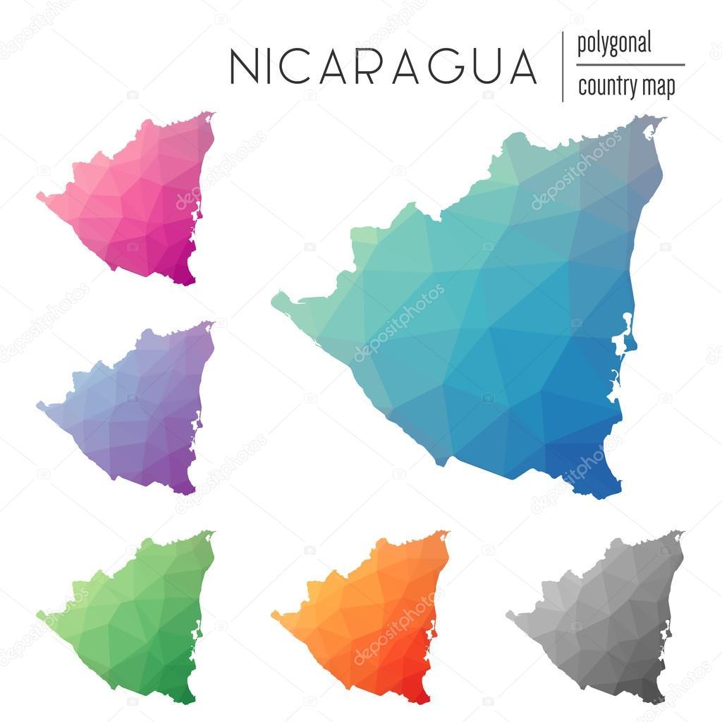 Set Of Vector Polygonal Nicaragua Maps Stock Vector Gagarych - Nicaragua map download