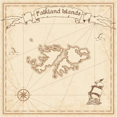 Falkland Islands %28Malvinas%29 old treasure map.