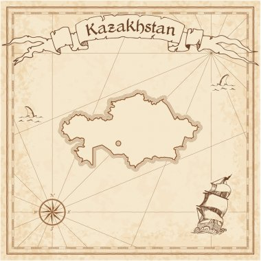 Kazakhstan old treasure map.